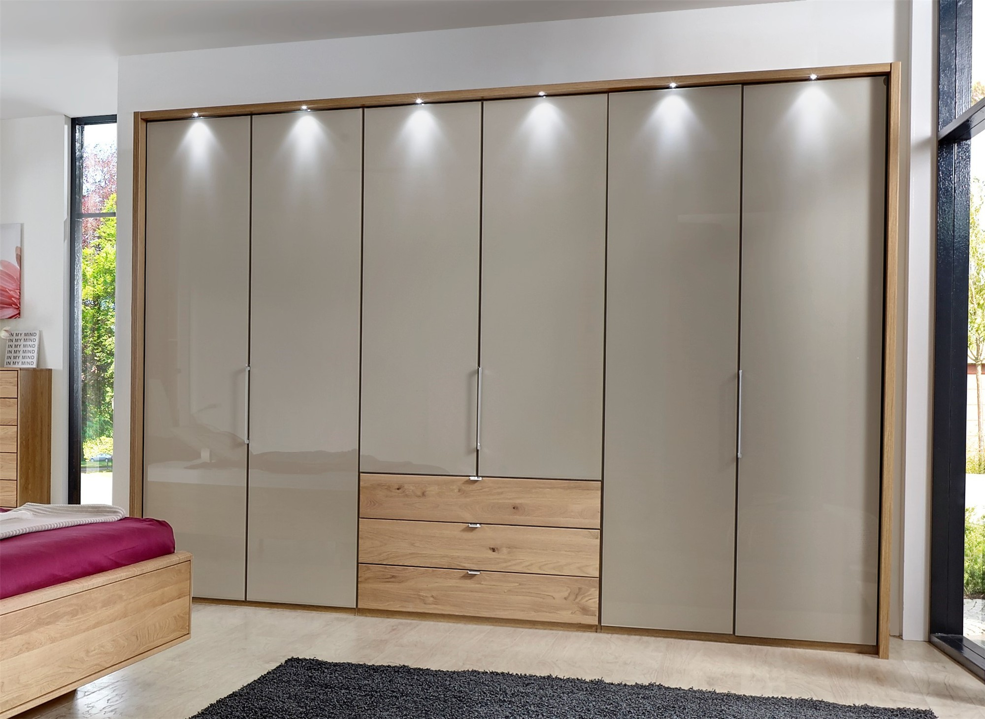 Stylform Selene 150cm Solid Oak Amp Glass Wardrobe Head2bed Uk