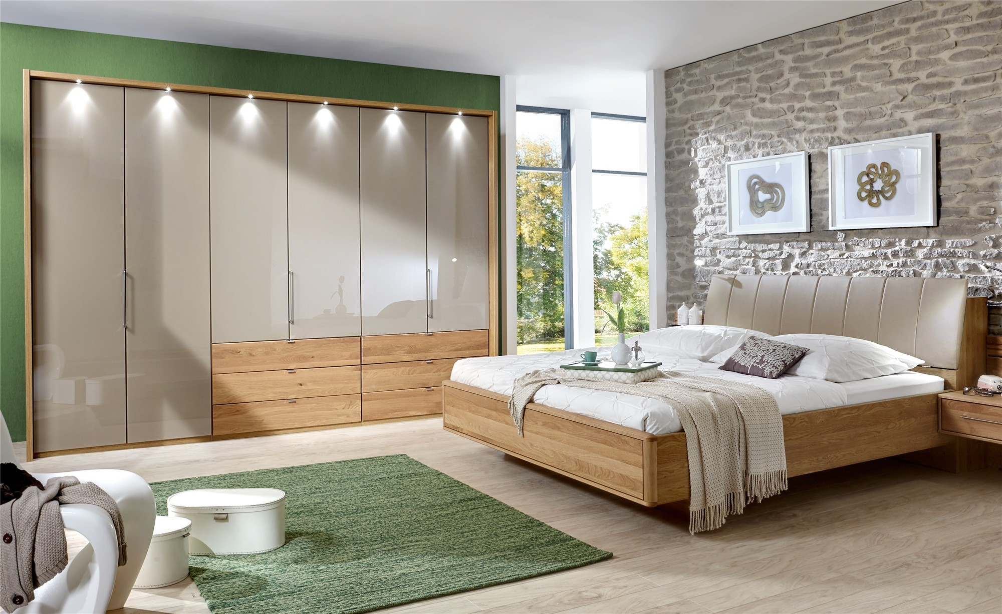 Contemporary Bedroom Furniture Sets Stylform Selene 150 Cm Solid Oak And Glass Bi Fold