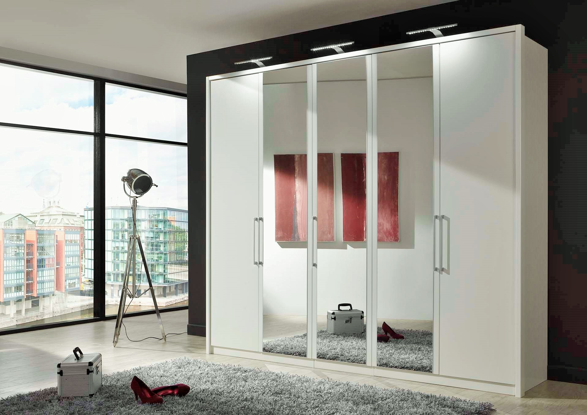 Stylform linus hinged door wardrobe wood and mirror head2bed uk - Grande armoire chambre ...