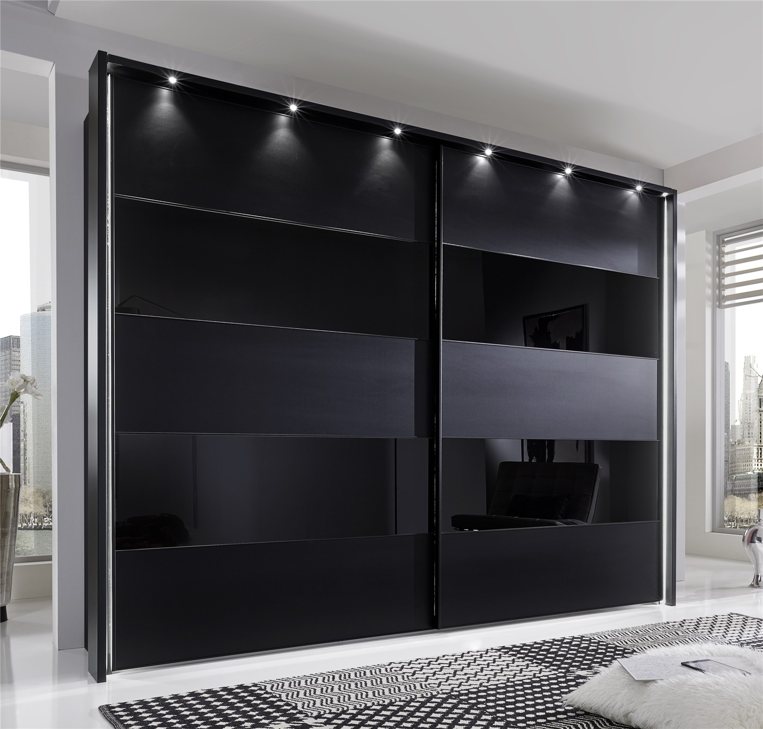 Phoebe by stylform black matt glass wardrobe head2bed uk for Black sliding glass doors