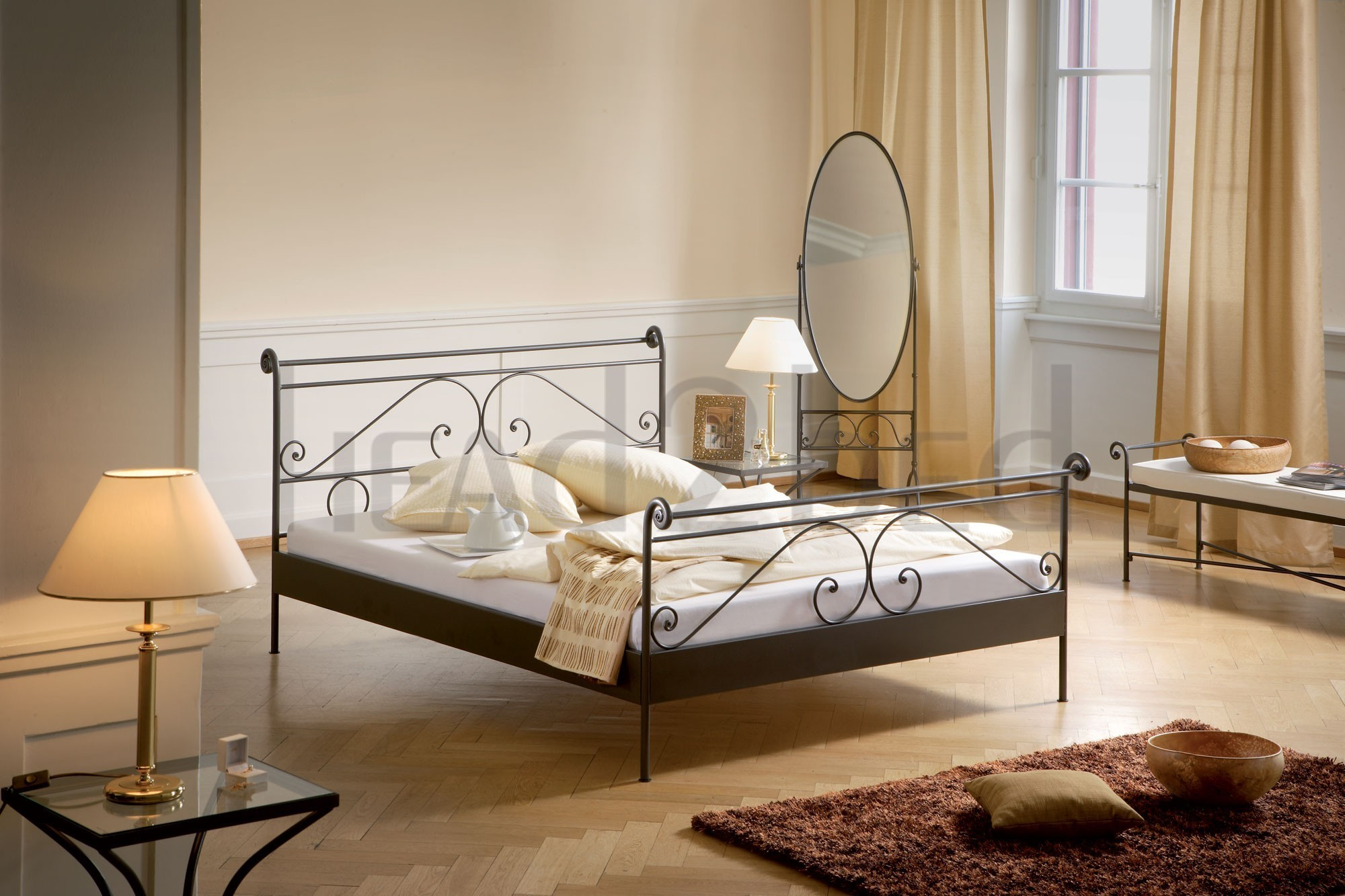 hasena romantic cerete solid wrought iron bed head2bed uk. Black Bedroom Furniture Sets. Home Design Ideas