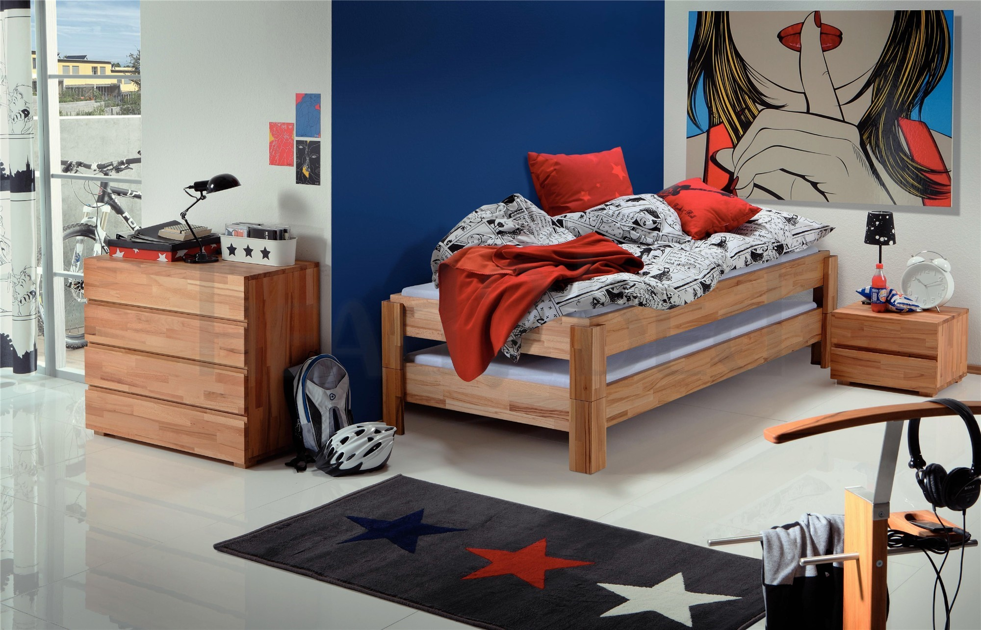 hasena amigo modern guest bed for older children teenagers head2bed uk. Black Bedroom Furniture Sets. Home Design Ideas