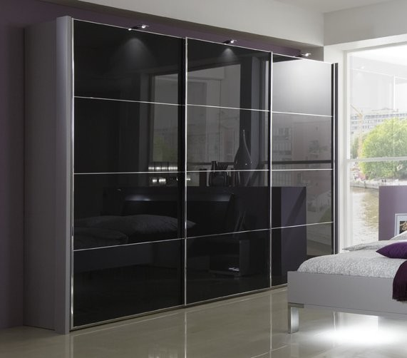 Sliding Mirror Closet Doors With Gray Hair: 150-400cm White/Black/Grey Glass