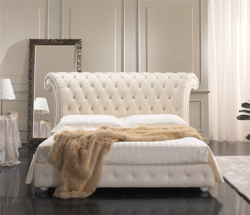 Quarrata venice real leather italian bed head2bed uk for Stylish leather beds