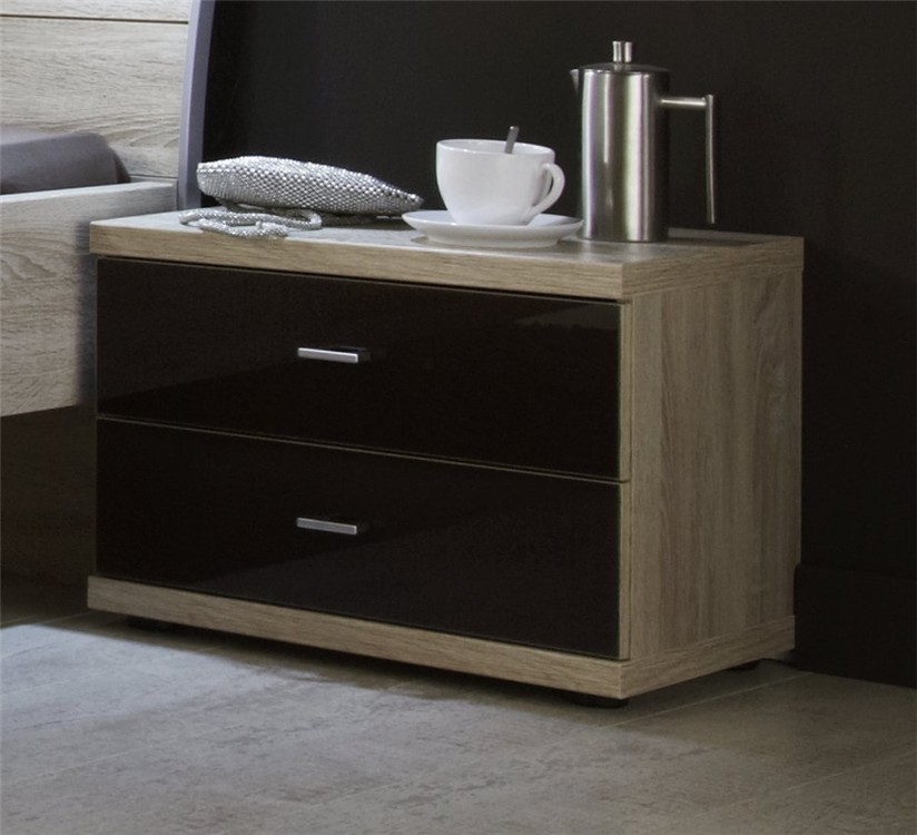 Bedroom Furniture Accessories Stylform Artemis 2 Drawer Bedside Table Glass Fronts Head2bed Uk