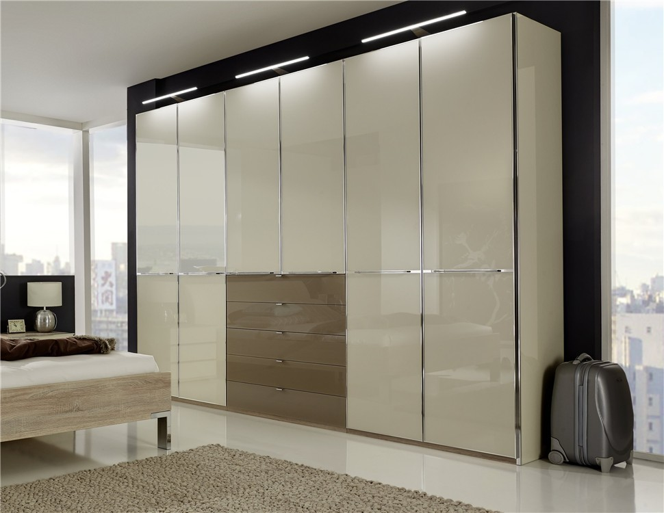 Stylform nyx hinged door wardrobe in glass with drawers for Wardrobe door finishes