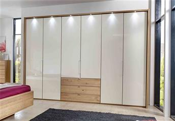 Stylform Selene 150 cm Solid Oak & Glass Wardrobe