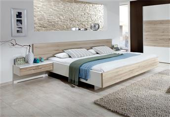 Stylform ORION Floating Bed - Rustic Santana Oak & White