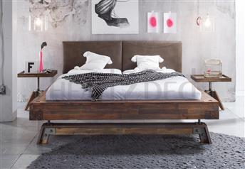 Hasena Stabil Dorma - Solid Vintage Acacia Real Leather Bed
