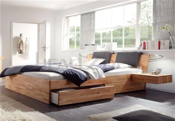 Hasena Spazio Varus - Solid Beech bed with Drawers
