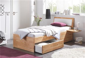 Hasena Spazio Duetto - Solid Beech Bed With Drawers