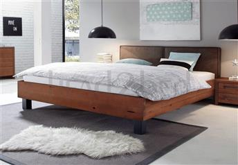 Hasena Mico Cena - Real Leather Rustic Solid Beech Bed