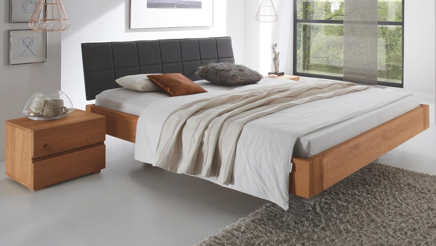 hasena cora ronna solid oak floating bed with real leather