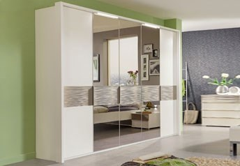 Stylform ZEUS - 150-300cm Wardrobewith wood, mirrors & textured cross-trim