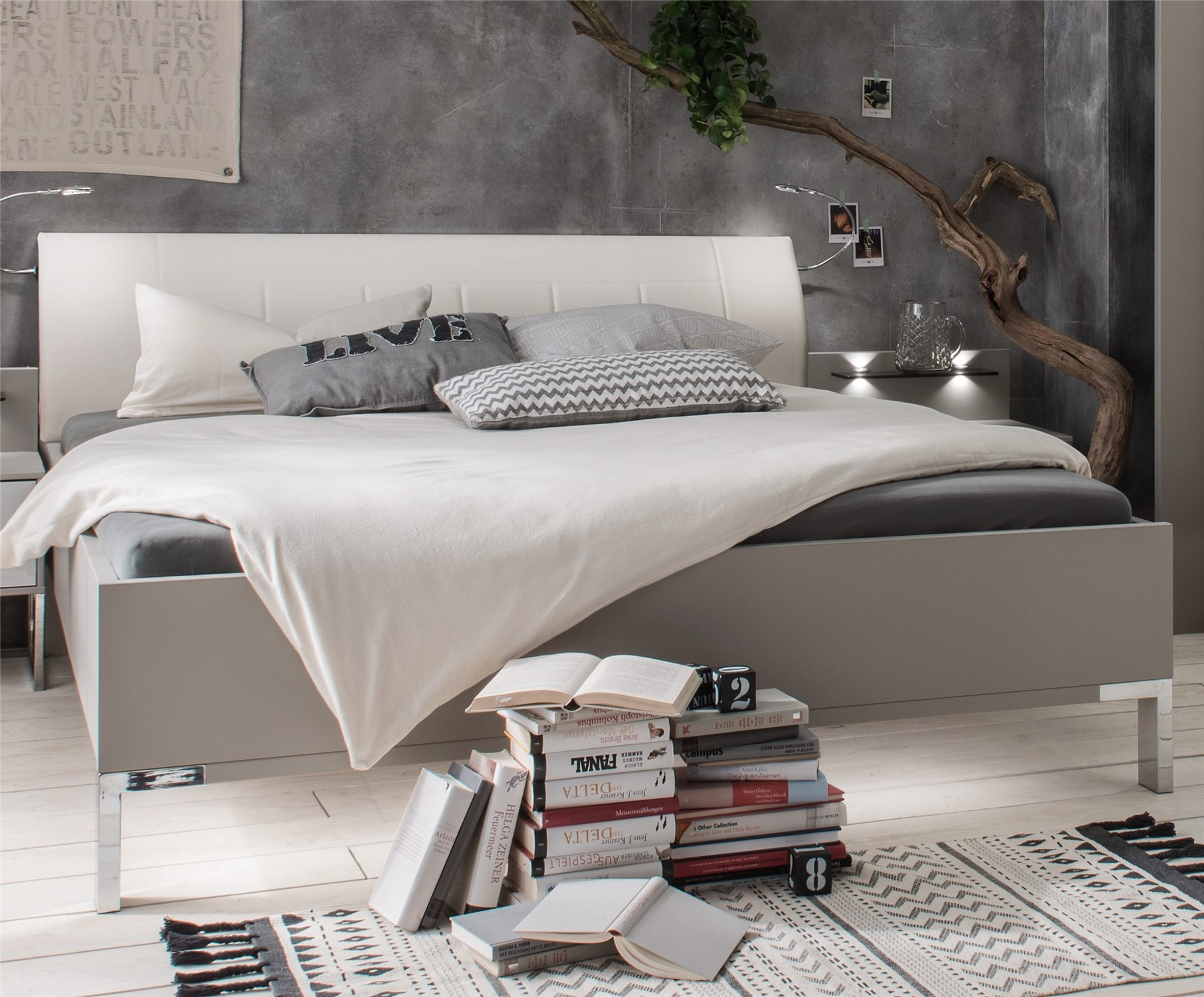 Mars By Stylform  Modern Bed With Faux Leather Headboard