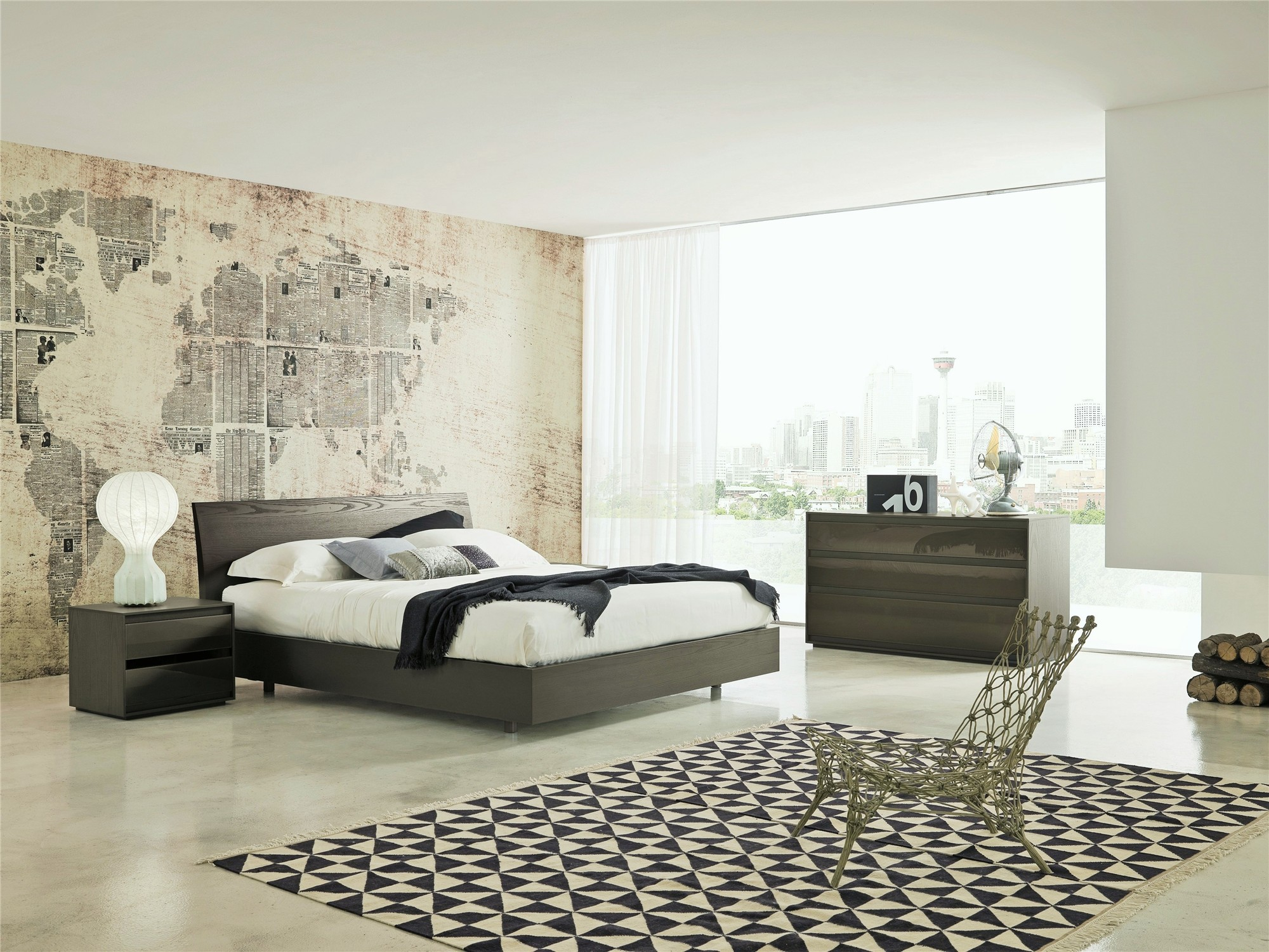 Oak Bedroom Veneran Italia Movi Italian Designer Bed In Solid Birch Oak