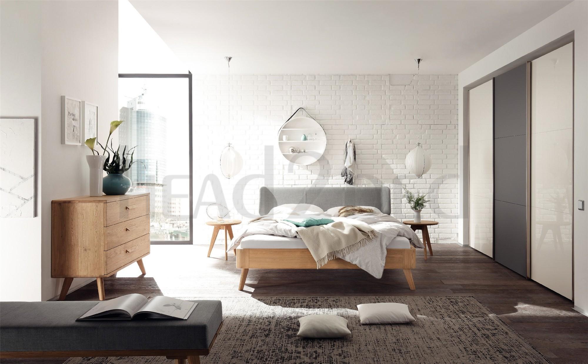 contemporary designer beds hasena masito boga solid oak real leather modern bed head2bed uk. Black Bedroom Furniture Sets. Home Design Ideas