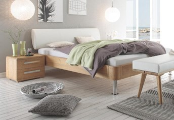 Hasena Grono Chrome Elipsa Solid Oak Modern BedReal Leather Headboard