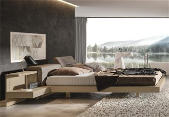 Veneran Italia VENUS Solid Birch Floating Bed in ash or oak veneer with leather headboard