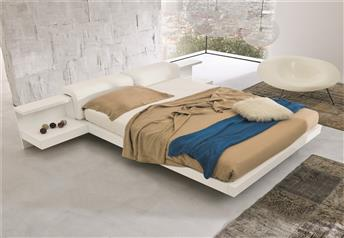 Veneran Italia VENUS Solid Birch - High Gloss Ash Veneer Bed with real leather