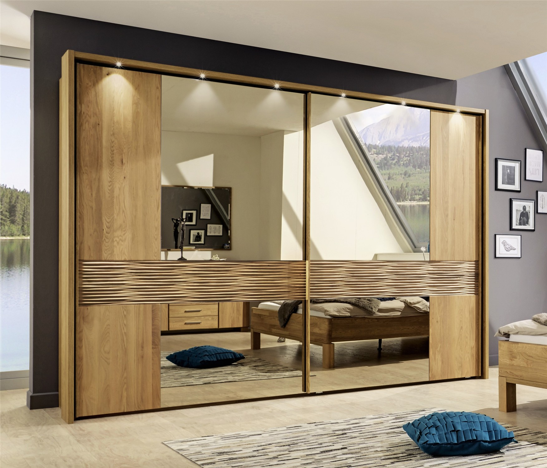 Modern Wardrobes Iris By Stylform Semi Solid Oak Sliding Door
