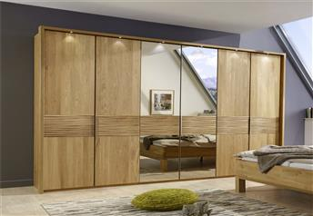 Stylform Iris Hinged Door Wardobe - Semi Solid Oak & Glass