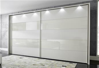 Stylform PHOEBE - 200-300cm Matt & Glass Champagne Finish Sliding Wardrobe