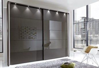 Stylform PHOEBE - 200-300cm Wood/Glass Sliding Door Wardrobe