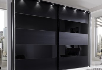 Stylform PHOEBE - 200-300cm Black Matt & Glass Sliding Door Wardrobe