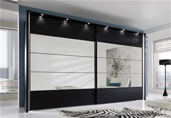 Stylform PHOEBE - 200-300cm Wood/Mirror/Glass Sliding Wardrobe