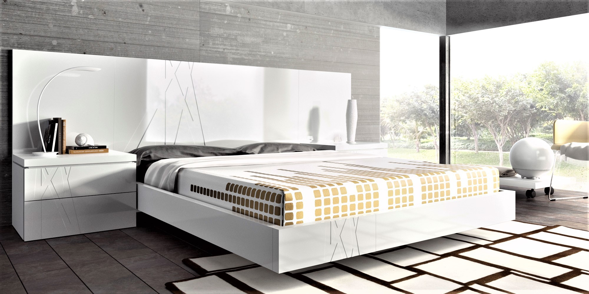 Guardia Gala Modern Bed In High Gloss Or Matt Lacquer
