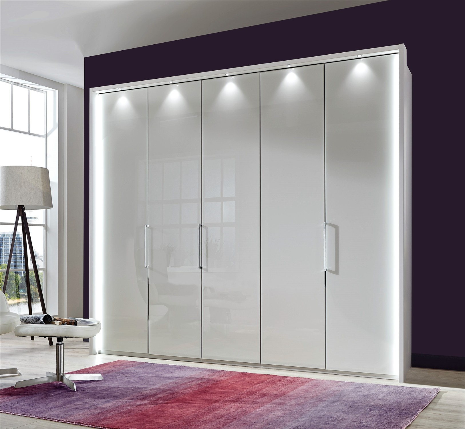 Bi Fold Glass Doors : Stylform poseidon glass bi fold hinged door wardrobe