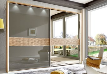 Stylform DORIS - 250-300cm Semi Solid Oak Sliding Door WardrobeHavanna/Champagne Glass or Bronze Mirror