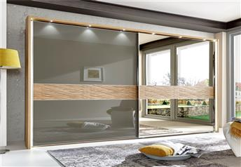 Stylform DORIS - 250/300cm Semi Solid Oak Havanna Glass or Bronze Mirror Sliding Door Wardrobe