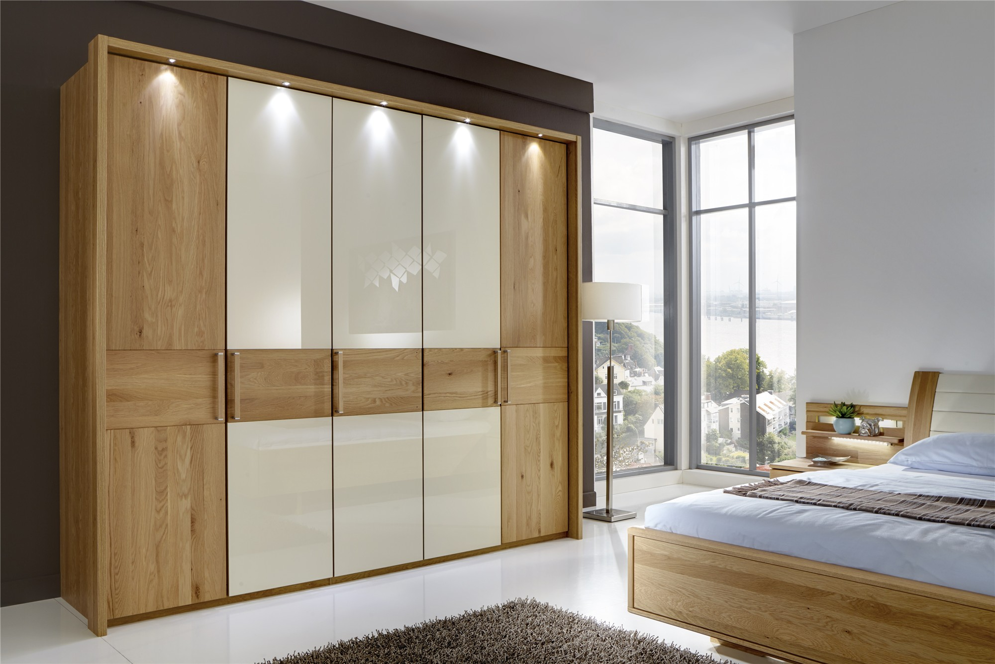Andromeda By Stylform Semi Solid Oak And Glass Mirror