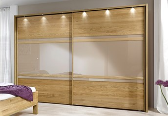 Stylform ANDROMEDA - 250/300cm Semi Solid Oak & Glass/Mirrored Sliding Wardrobe