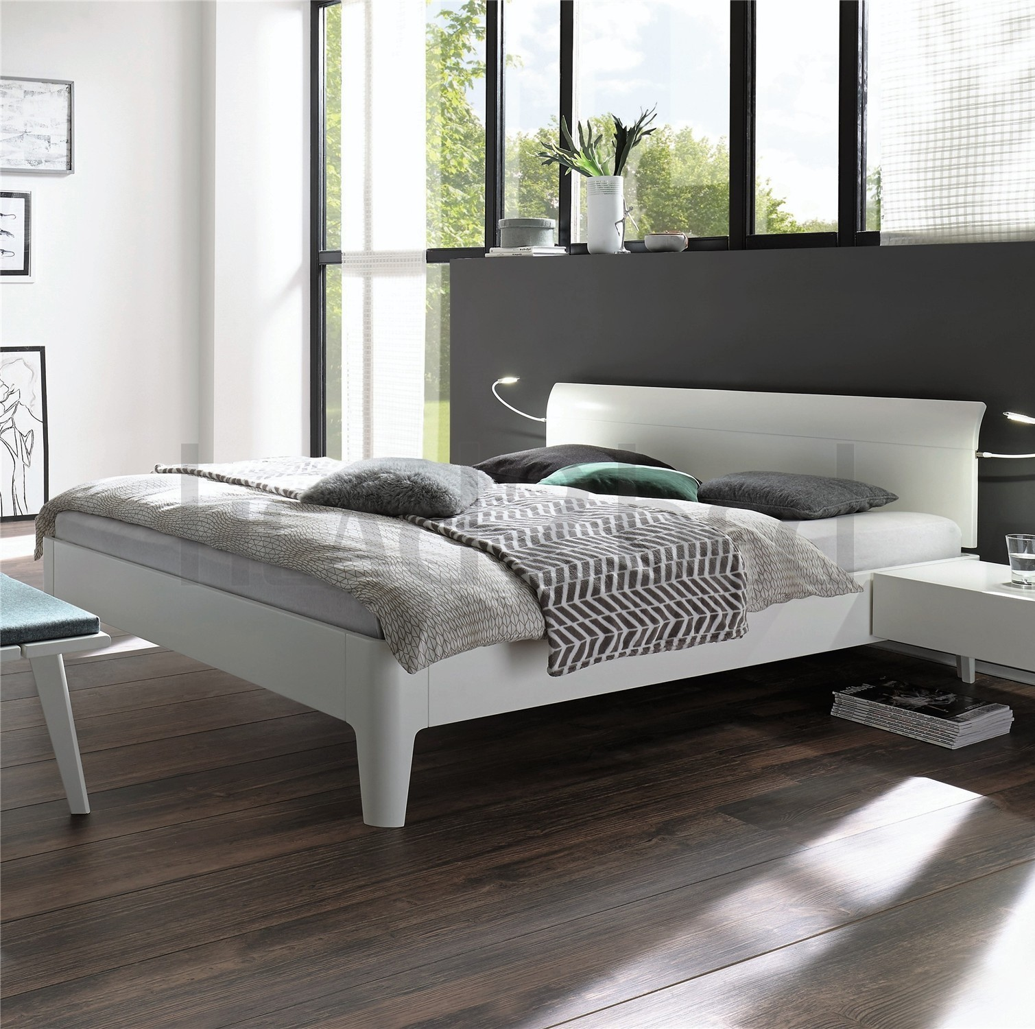 Fabulous Contemporary Designer Beds » Hasena Xylo Vola Solid Walnut or  WA63