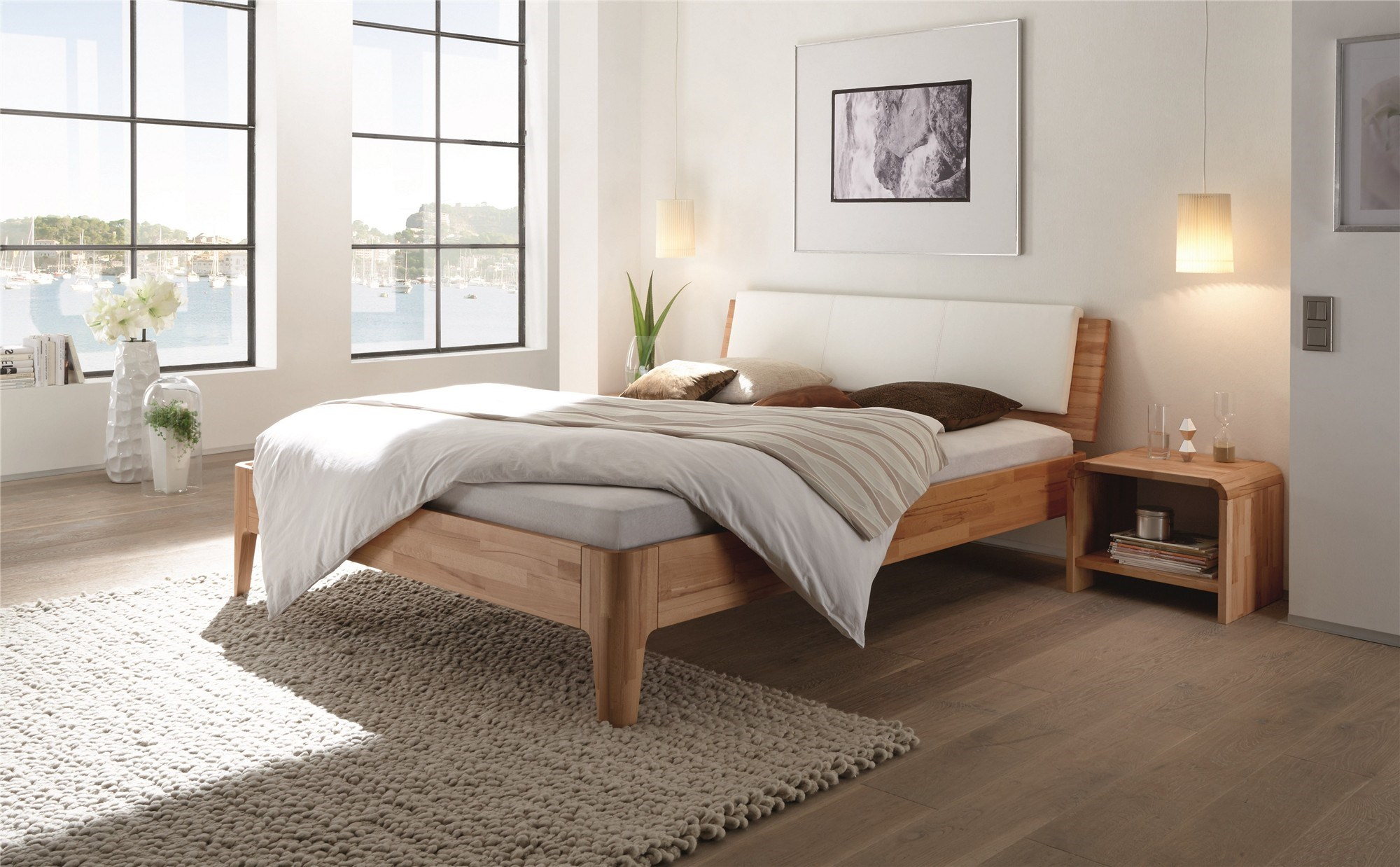 Bed. Contemporary Designer Beds   Hasena Xylo Varus Solid beech or