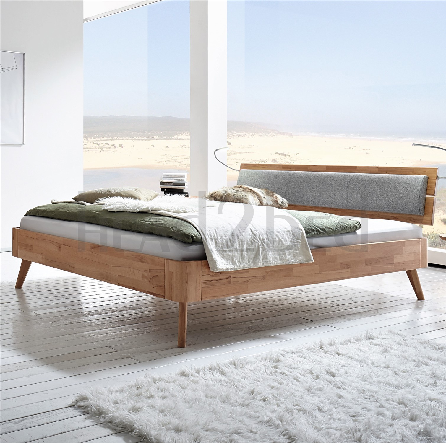 Fabulous Contemporary Designer Beds » Hasena Masito Duetto Solid beech or  KP16