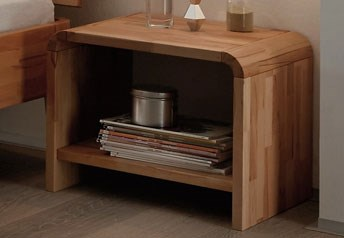 Hasena Plato - Modern Solid Beech or Walnut Bedside Table