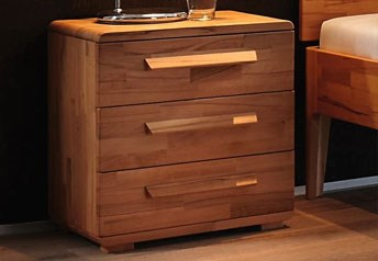 Hasena Trigo - Solid Beech or Walnut 3-drawer bedside table