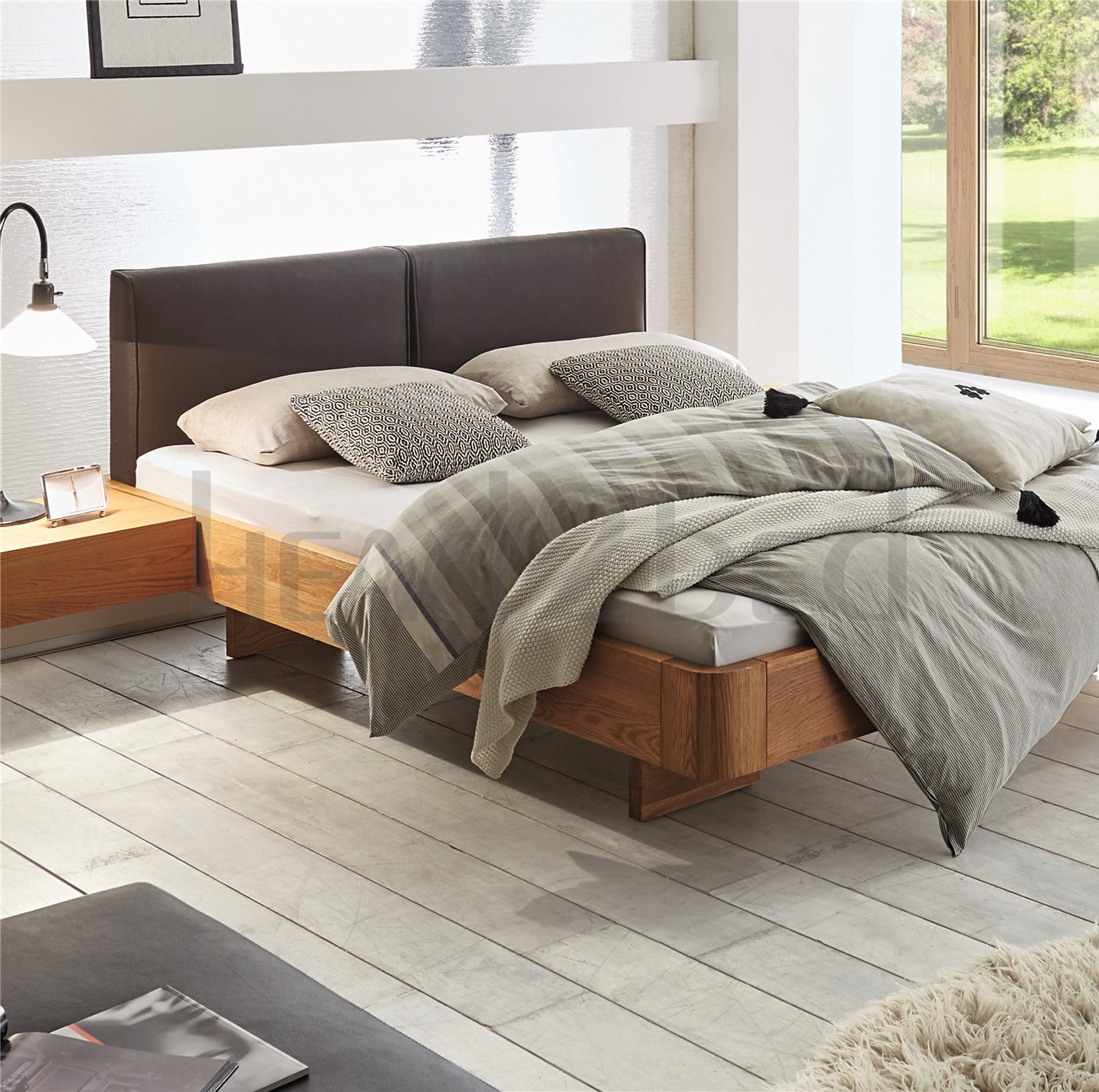 Leather Bed Oak Beds Und: Contemporary Designer Beds » Hasena Airon Cemoa Solid Oak