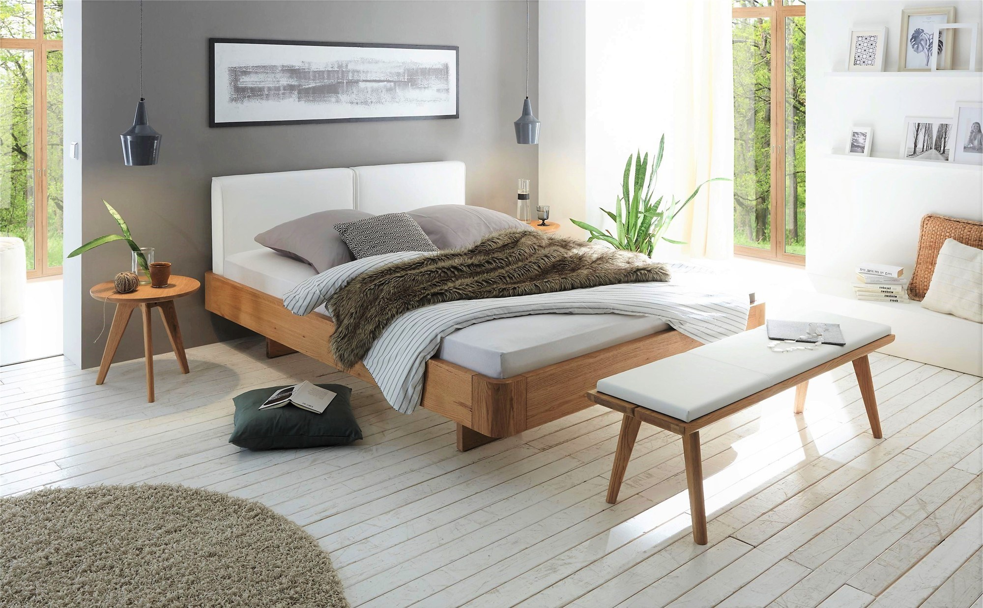 hasena airon cemoa solid oak and real leather floating bed