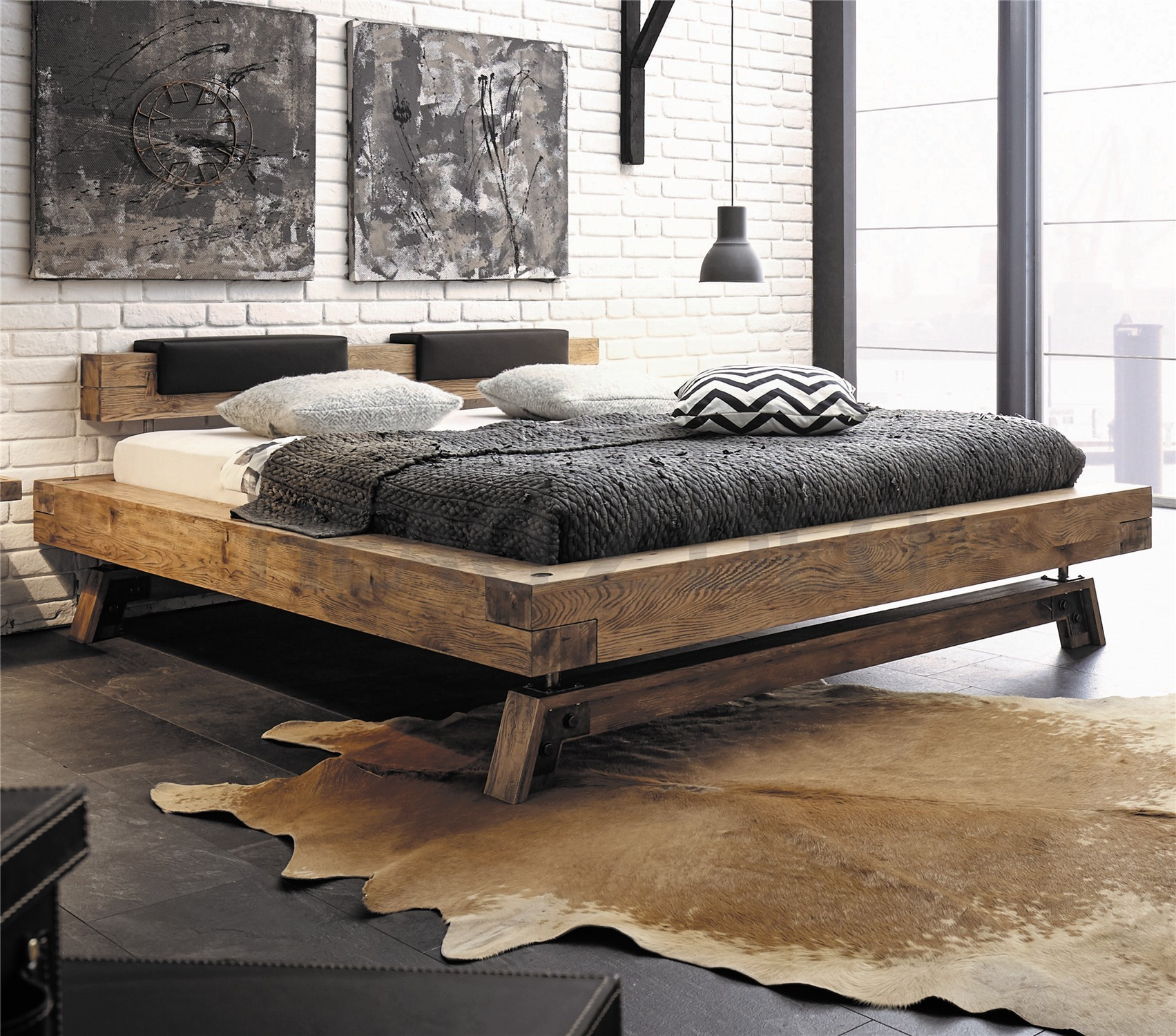 contemporary designer beds 187 hasena bloc stabil inca nakio 14561 | hasena bloc stabil inca nakio character solid oak in vintage finish id 14561