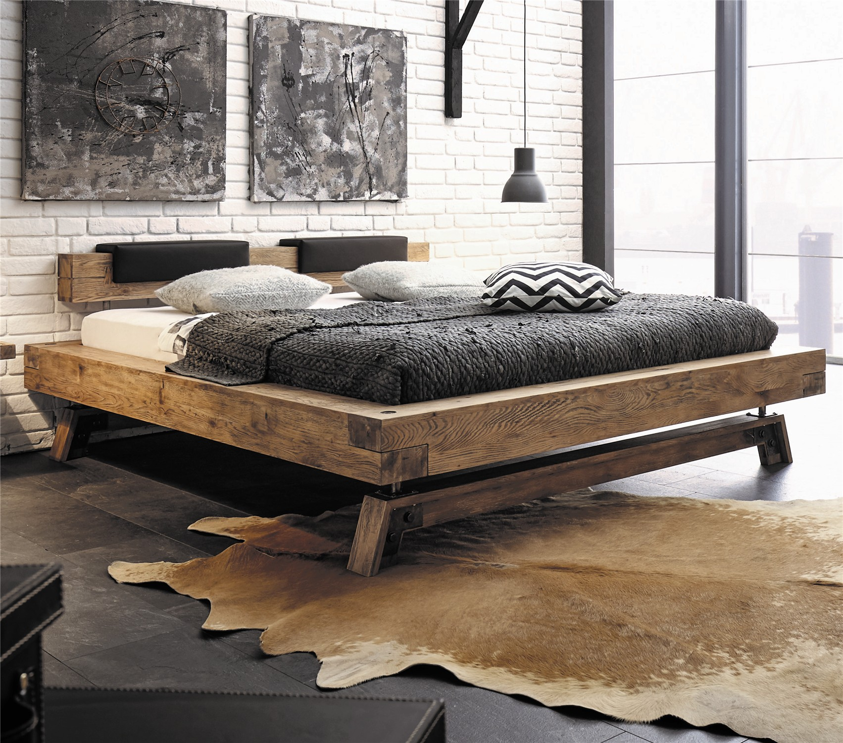 contemporary designer beds hasena bloc stabil inca nakio character solid oak in vintage. Black Bedroom Furniture Sets. Home Design Ideas