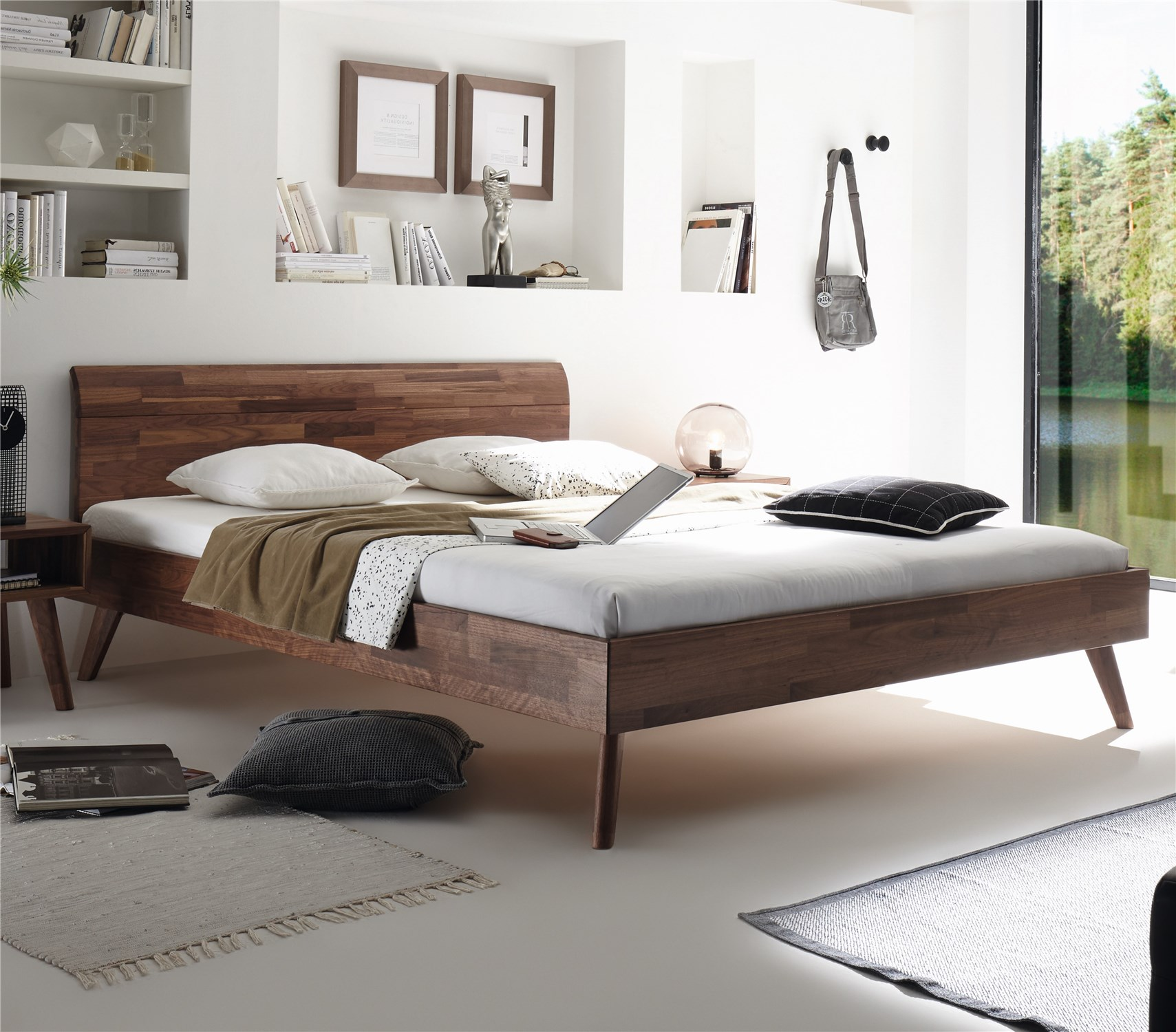 Contemporary designer beds hasena masito vola solid beech or solid walnut modern bed head2bed uk