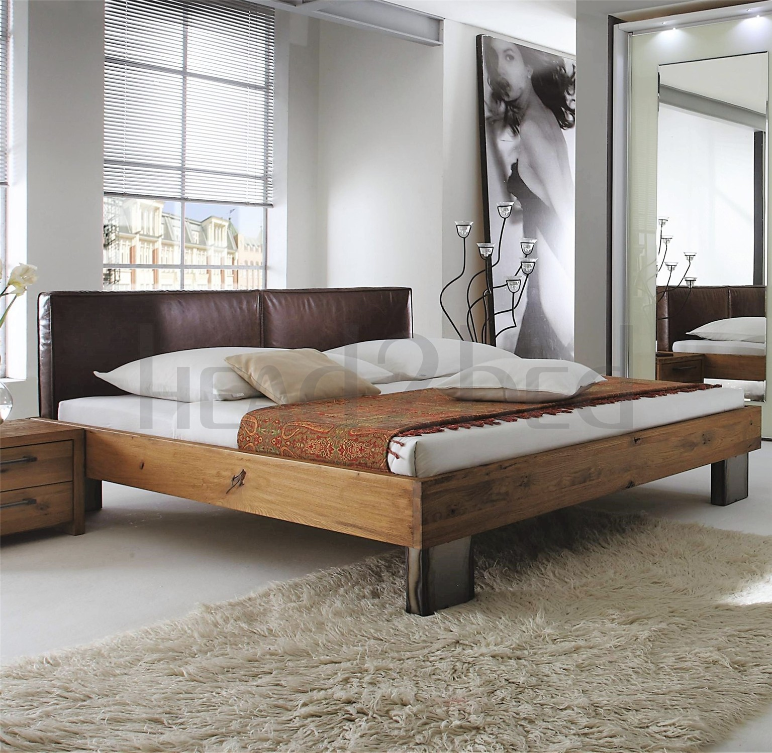 Leather Bed Oak Beds Und