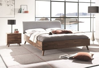 Hasena MODERNO Trento 23 Masi Ripo - Solid Beech/Oak/Walnut BedReal Leather Headboard