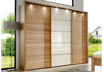 Stylform ZEFIRO - 250-400cm Semi Solid Oak Sliding Door Wardrobeglass, mirrored or oak centre door panel