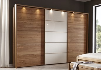 Stylform ZEFIRO Semi Solid Oak and Glass or Mirror Sliding Door Wardrobe